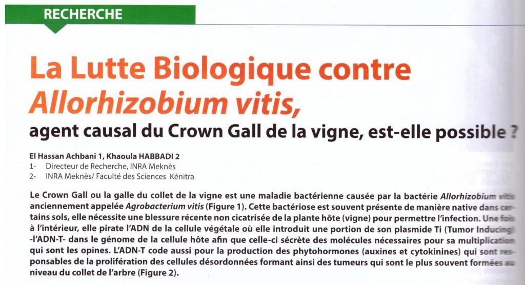 Résumé de l'article publié par Dr El Hassan Achbani dans la revue Agriculture du Maghreb N° 103 - Avril 2017