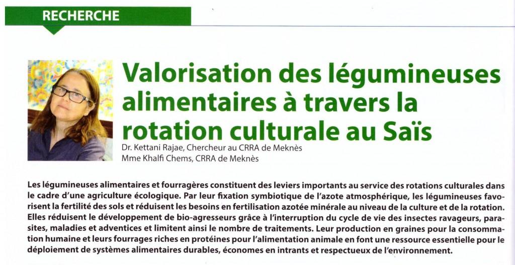 Résumé de l'article publié par Dr Rajae Kettani dans la revue Agriculture du Maghreb N° 103 - Avril 2017