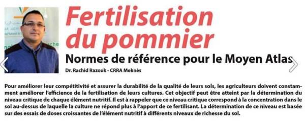 Article publié par Dr Rachid Razouk (URAPV- CRRA Meknès) dans Agriculture du Maghreb, avril 2018