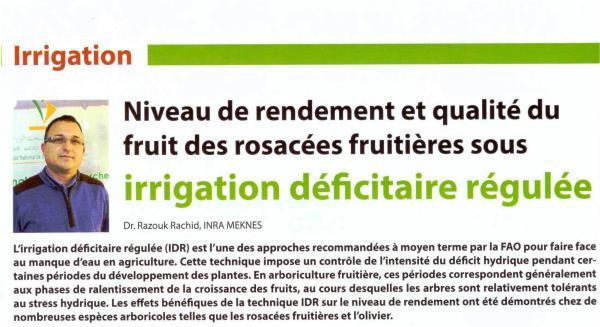 Article signé Dr Rachid Razouk (URAPV - CRRA Meknès) dans Agriculture du Maghreb 113 juil-Aout 2018 (pp. 66 - 67)