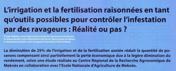 Résumé de l'article publié par A. Kajji, R. RAzouk (CRRA Meknès) et A. Boutaleb Joutei (ENA Meknès) dans Agriculture du Maghreb (N° 115, nov. 2018 - pp. 92-93)