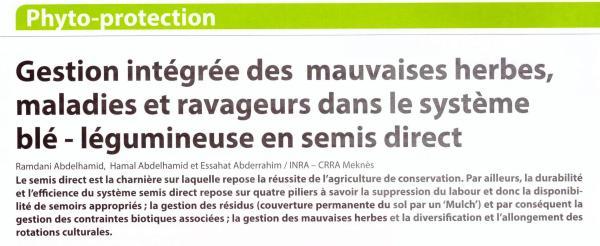 Article signé par A. Ramdani, A. Hamal et A. Essahat (Chercheurs au CRRA Meknès) paru dans 'Agriculture du Maghreb' (Déc. 218-Janv. 2019, Supplément spécial Céréaliculture, pp. 10-13)