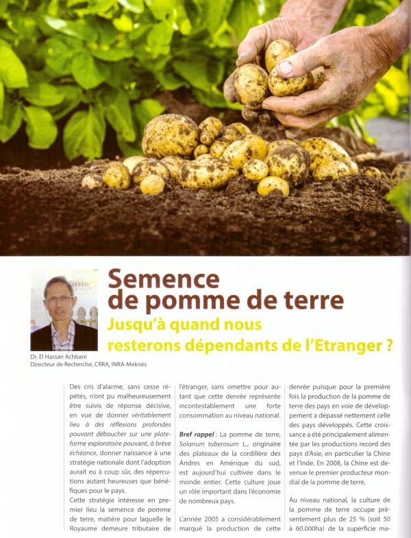 """Résumé de l'article publié par Dr El Hassan Achbani (CRRA Meknès) dans """"Agriculture du Maghreb"""" (Fév. 2019, pp. 98-99)"""