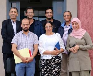 Equipe du projet (à partir de la gch en haut) : A. Ibrahimy1, M. El Fechtali2, L. Hssaïni2, N. Bahri2, A. Nabloussi2, H. Hanine3 et I. Guirrou2 (en plus de A. El Antari4 ; n'est pas sur la photo) 1: ENA Meknès - 2: INRA CRRA Meknès - 3: FST Ben Mellal - 4: INRA CRRA Marrakech.