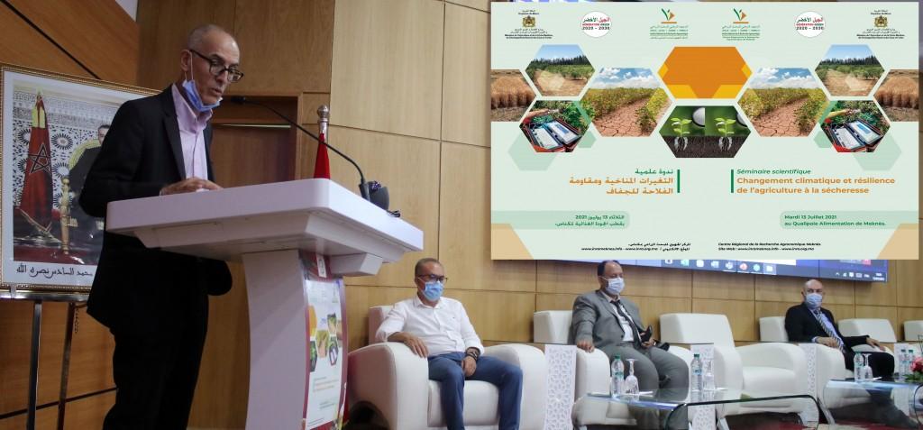 Panel d'ouverture du séminaire (A partir de la gauche : Dr Faouzi Bekkaoui - Directeur de l'INRA, Dr Abderrahim Bentaïbi -  Chef du CRRA Meknès, Dr Kamal Hidane – DRA Fès-Meknès et Dr Riad Balaghi – Représentant de l'Initiative AAA)